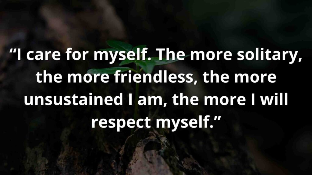 """""""I care for myself. The more solitary, the more friendless, the more unsustained I am, the more I will respect myself."""" Jane Eyre Quotes (9)"""