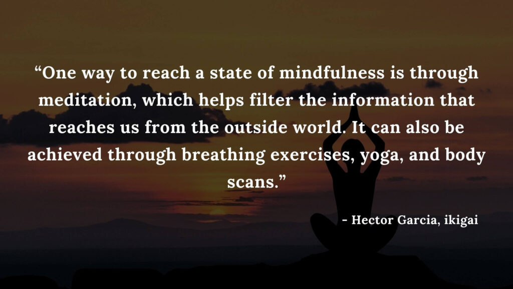 """9. """"One way to reach a state of mindfulness is through meditation, which helps filter the information that reaches us from the outside world. It can also be achieved through breathing exercises, yoga, and body scans."""" - ikigai quotes by hector garcia"""