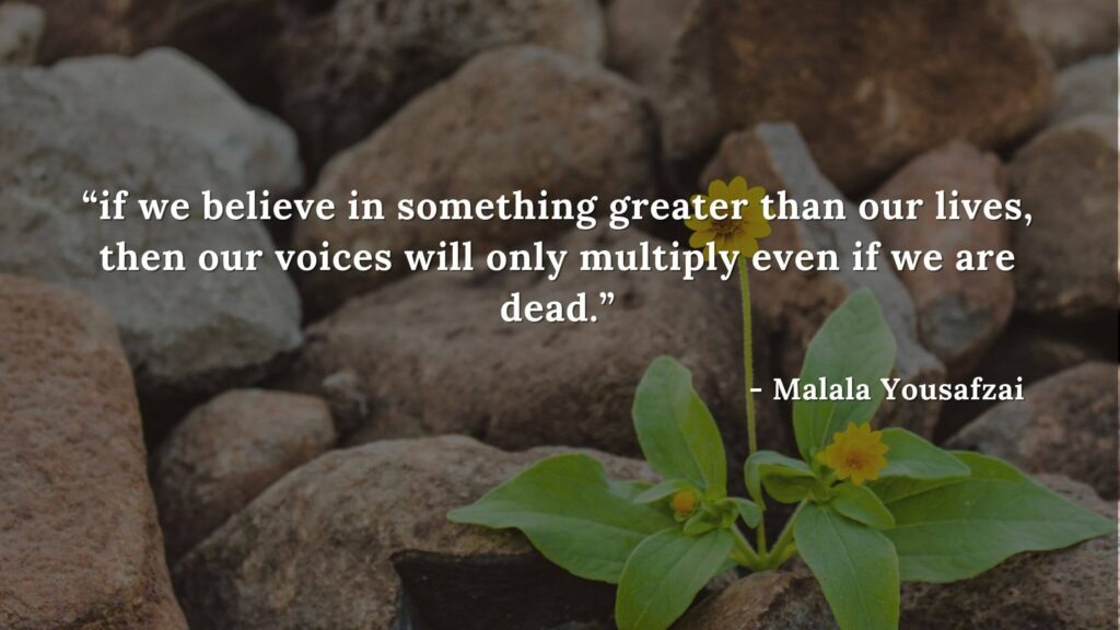 if we believe in something greater than our lives, then our voices will only multiply even if we are dead - Malala yousafzai quotes